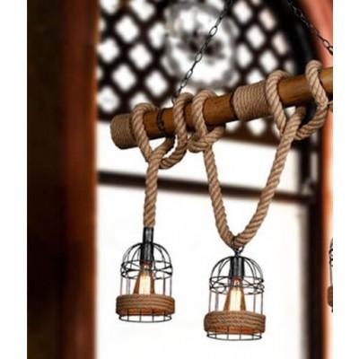 Vintage κρεμαστό φωτιστικό τρίφωτο καφέ ξύλινο bamboo με μπεζ σχοινί
