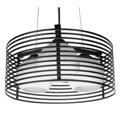 Μοντέρνο Κρεμαστό Φωτιστικό Τρίφωτο Μαύρο Μεταλλικό Πλέγμα με Καμπάνα απο Λευκό Γυαλί Ø40cm