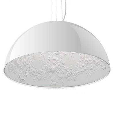 Μοντέρνο Κρεμαστό Φωτιστικό Μονόφωτο Λευκό Γύψινο Καμπάνα Ø40cm