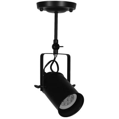Vintage Φωτιστικό Οροφής Μονόφωτο Μαύρο Μεταλλικό Ράγα Ø10cm