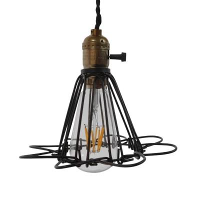 Vintage industrial κρεμαστό φωτιστικό μαύρο μεταλλικό πλέγμα Φ10cm