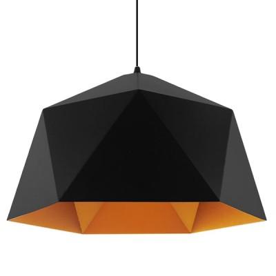 Μοντέρνο κρεμαστό φωτιστικό μονόφωτο μαύρο χρυσό μεταλλικό καμπάνα Φ46cm