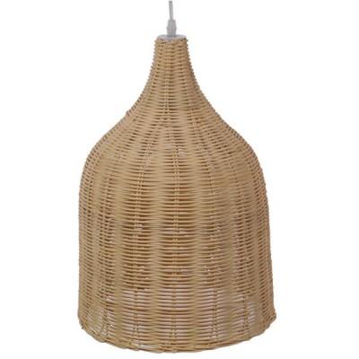 Κρεμαστό φωτιστικό μονόφωτο μπεζ ξύλινο ψάθινο rattan Φ30cm