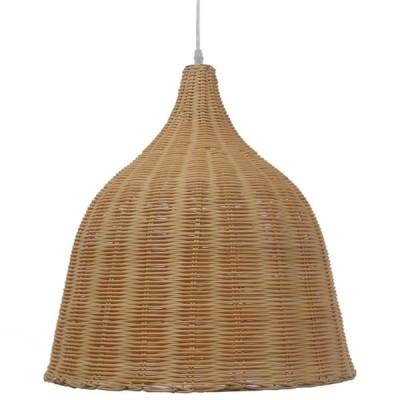 Κρεμαστό φωτιστικό μονόφωτο μπεζ ξύλινο ψάθινο rattan Φ45cm