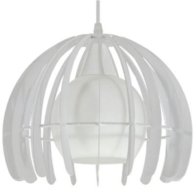 Μοντέρνο κρεμαστό φωτιστικό μονόφωτο λευκό μεταλλικό πλέγμα με λευκό γυαλί Φ26cm