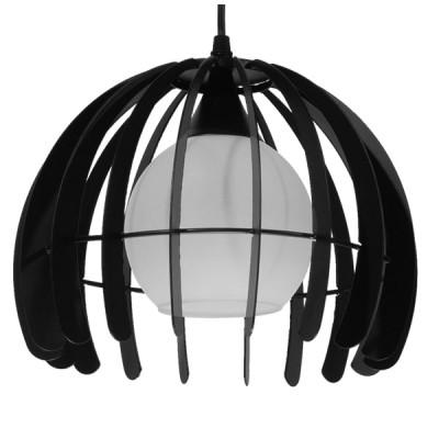 Μοντέρνο κρεμαστό φωτιστικό μονόφωτο μαύρο μεταλλικό πλέγμα με λευκό γυαλί Φ26cm