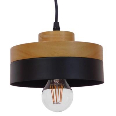 Μοντέρνο Κρεμαστό Φωτιστικό Μαύρο Μεταλλικό με Φυσικό Ξύλο Ø18cm