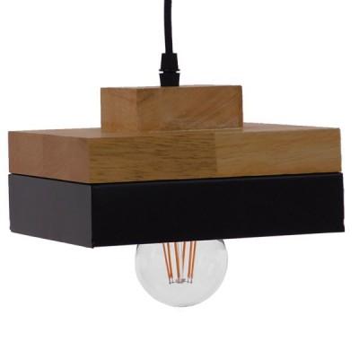 Μοντέρνο Κρεμαστό Φωτιστικό Μαύρο Μεταλλικό με Φυσικό Ξύλο 18x18cm