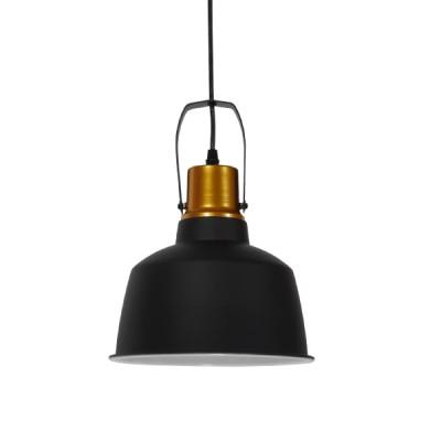 Vintage industrial κρεμαστό φωτιστικό μονόφωτο μαύρο μεταλλικό καμπάνα Φ22cm