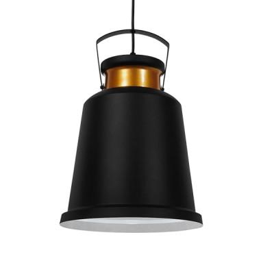 Vintage industrial κρεμαστό φωτιστικό μονόφωτο μαύρο μεταλλικό καμπάνα Φ27cm