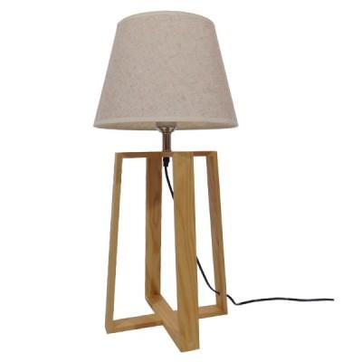 Μοντέρνο Επιτραπέζιο Φωτιστικό Ξύλινο με Μπεζ Καπέλο Ø30cm