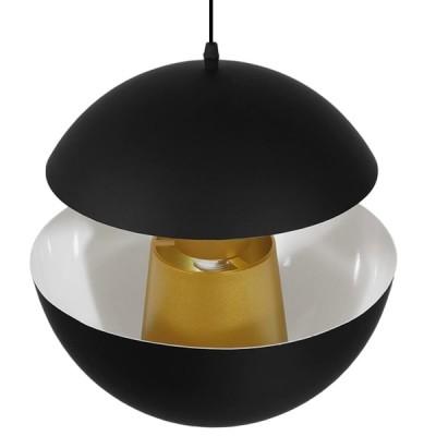 Μοντέρνο Κρεμαστό Φωτιστικό Μονόφωτο Μαύρο Μεταλλικό Ø35cm