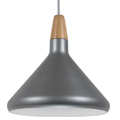 Μοντέρνο Κρεμαστό Φωτιστικό Μονόφωτο Ασημί Μεταλλικό Καμπάνα Ø27cm