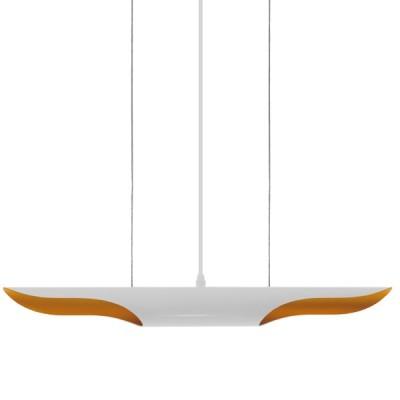 Μοντέρνο κρεμαστό φωτιστικό δίφωτο λευκό χρυσό μεταλλικό 60cm