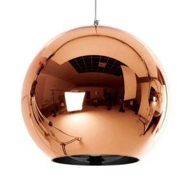 Μοντέρνο Κρεμαστό Φωτιστικό Μονόφωτο Γυάλινο Χάλκινο Νίκελ Ø30cm