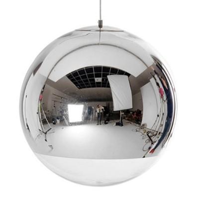 Μοντέρνο κρεμαστό φωτιστικό μονόφωτο γυάλινο νίκελ Φ30cm