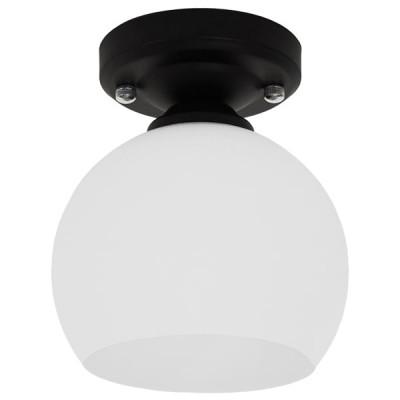 Μοντέρνο Φωτιστικό Οροφής Μονόφωτο Μαύρο με Λευκό Ματ Γυαλί Καμπάνα Ø13cm