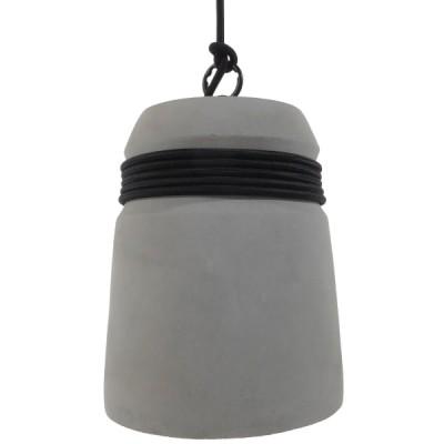 Μοντέρνα Industrial Καμπάνα Γκρι Τσιμεντένια Ø18cm με μαύρο σχοινί