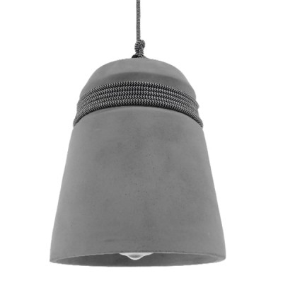 Μοντέρνα Industrial Καμπάνα Γκρι Τσιμεντένια Ø18cm με ασπρόμαυρο σχοινί