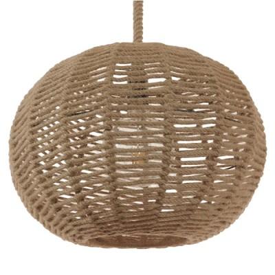 Κρεμαστό φωτιστικό μπάλα από μπεζ σχοινί Φ42cm