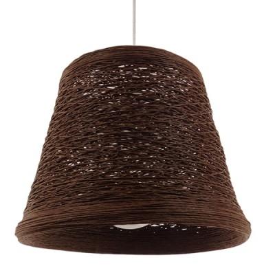 Κρεμαστό φωτιστικό καφέ σκούρο ψάθινο rattan Φ30cm