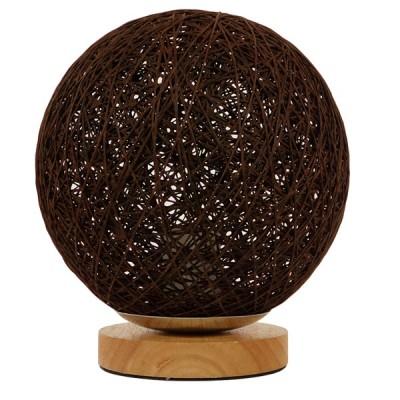 Μοντέρνο πορτατίφ μπάλα rattan φ20cm με ξύλινη βάση