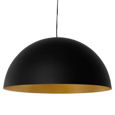 Μοντέρνο κρεμαστό φωτιστικό μονόφωτο μαύρο χρυσό μεταλλικό καμπάνα Φ60cm