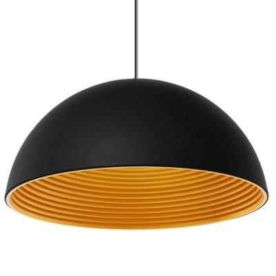 Μοντέρνο Κρεμαστό Φωτιστικό Μονόφωτο Μαύρο Χρυσό Μεταλλικό Καμπάνα Ø60cm