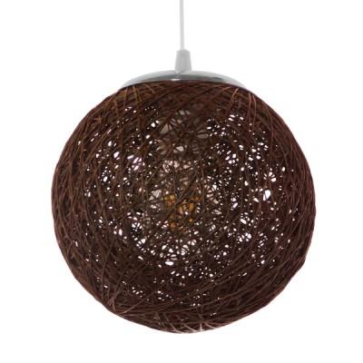 Κρεμαστό φωτιστικό μπάλα Φ20cm από ψαθί-rattan