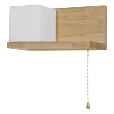Μοντέρνο φωτιστικό τοίχου ραφάκι ξύλινο με αλυσίδα αριστερά
