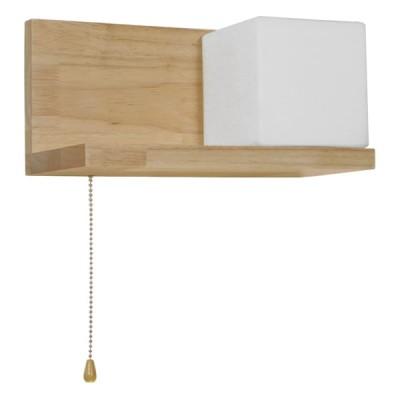 Μοντέρνο Φωτιστικό Τοίχου Απλίκα Ραφάκι Μονόφωτο Ξύλινο με Λευκό Ματ Γυαλί