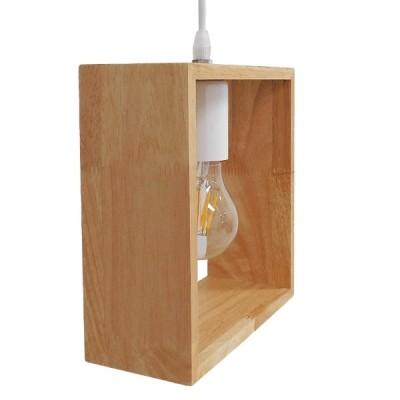 Μοντέρνο Κρεμαστό Φωτιστικό Ξύλινο Δρυς Ορθογώνιο 20x23cm