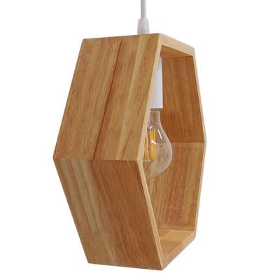 Μοντέρνο Κρεμαστό Φωτιστικό Ξύλινο Δρυς Πολυγωνικό 25x26cm