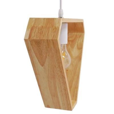 Μοντέρνο Κρεμαστό Φωτιστικό Ξύλινο Δρυς Τριγωνικό 28x29cm