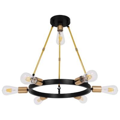 Μοντέρνο Φωτιστικό Οροφής Πολύφωτο Μαύρο Χρυσό Μεταλλικό Ø55x55cm