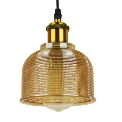 Vintage Κρεμαστό Φωτιστικό Μονόφωτο Γυάλινο Διάφανο Καμπάνα με Χρυσό Ντουί Ø14