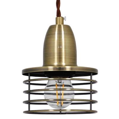 Industrial κρεμαστό φωτιστικό μονόφωτο μεταλλικό με πλέγμα Φ11cm