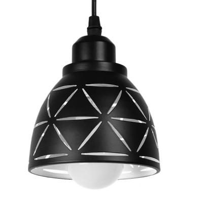 Μοντέρνα Μεταλλικά Καμπάνα Μαύρη με Γεωμετρικό Λευκό Σχέδιο Ø13cm