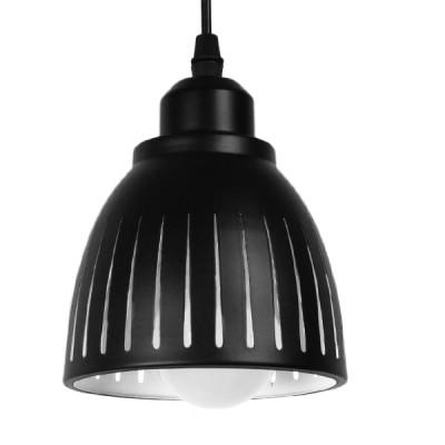 Μοντέρνο Κρεμαστό Φωτιστικό Μονόφωτο Μεταλλικό Μαύρο Λευκό Καμπάνα Ø13cm Γραμμές