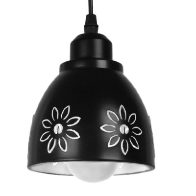 Μοντέρνο Κρεμαστό Φωτιστικό Μονόφωτο Μεταλλικό Μαύρο Λευκό Καμπάνα Ø13cm Μαργαρίτα