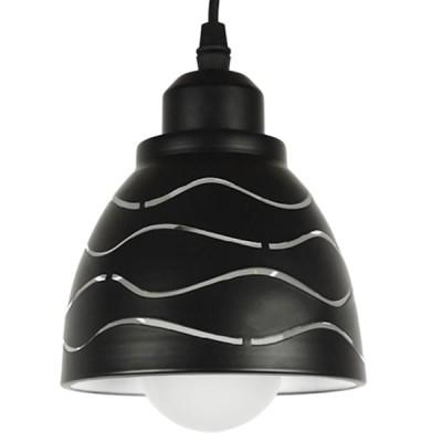 Μοντέρνο Κρεμαστό Φωτιστικό Μονόφωτο Μεταλλικό Μαύρο Λευκό Καμπάνα Ø13cm Κύματα