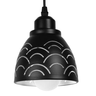 Μοντέρνο Κρεμαστό Φωτιστικό Μονόφωτο Μεταλλικό Μαύρο Λευκό Καμπάνα Ø13cm Σύννεφο