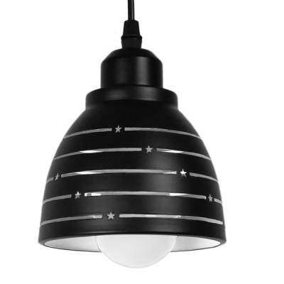 Μοντέρνο Κρεμαστό Φωτιστικό Μονόφωτο Μεταλλικό Μαύρο Λευκό Καμπάνα Ø13cm Γραμμές Αστέρια
