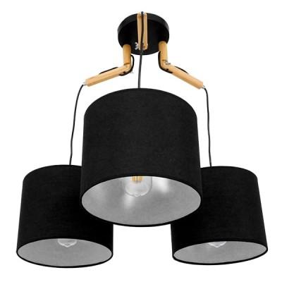 Μοντέρνο Κρεμαστό Φωτιστικό Τρίφωτο Μαύρο με Ξύλο και Υφασμάτινα Καπελα Ø67cm