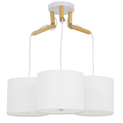 Μοντέρνο Κρεμαστό Φωτιστικό Τρίφωτο Λευκό με Ξύλο και Υφασμάτινα Καπελα Ø67cm