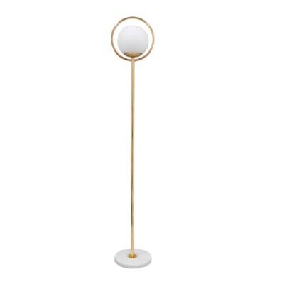 Μοντέρνο Φωτιστικό Δαπέδου Μονόφωτο Μεταλλικό Χρυσό με Milky Γυαλί Ø25cm