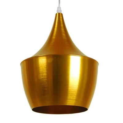 Μοντέρνο κρεμαστό φωτιστικό μονόφωτο χρυσό μεταλλικό καμπάνα Φ24cm