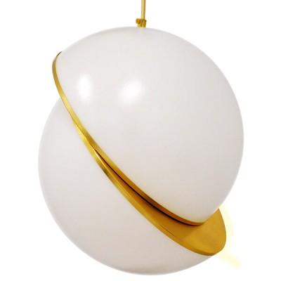 Μοντέρνο κρεμαστό φωτιστικό μονόφωτο λευκό με χρυσό Φ30cm