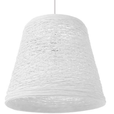 Κρεμαστό φωτιστικό μονόφωτο λευκό ψάθινο rattan Φ32cm