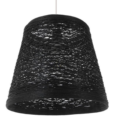 Μαύρο κρεμαστό φωτιστικό ψάθινο rattan Φ32cm